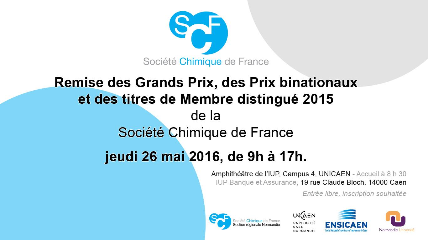 Grands Prix de la Société Chimique de France le 26 mai