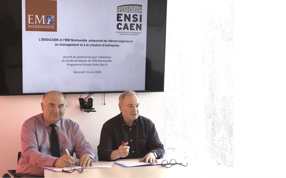 L'ENSICAEN et l'EM Normandie signent un accord de partenariat pour un nouveau diplôme