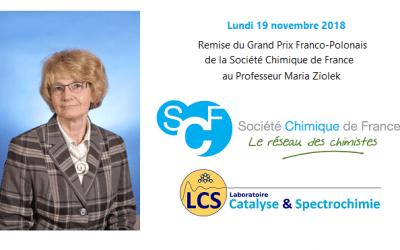 Remise du Grand Prix de la Société Chimique de France au Professeur Maria Ziolek