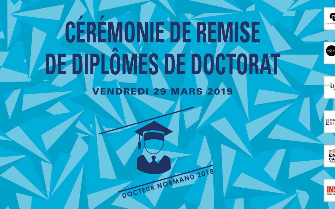 Cérémonie de remise de diplômes de doctorat Normandie Université – Docteurs 2018
