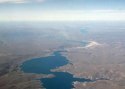 Lac artificiel depuis un vol Bariloche Córdoba (Ar)