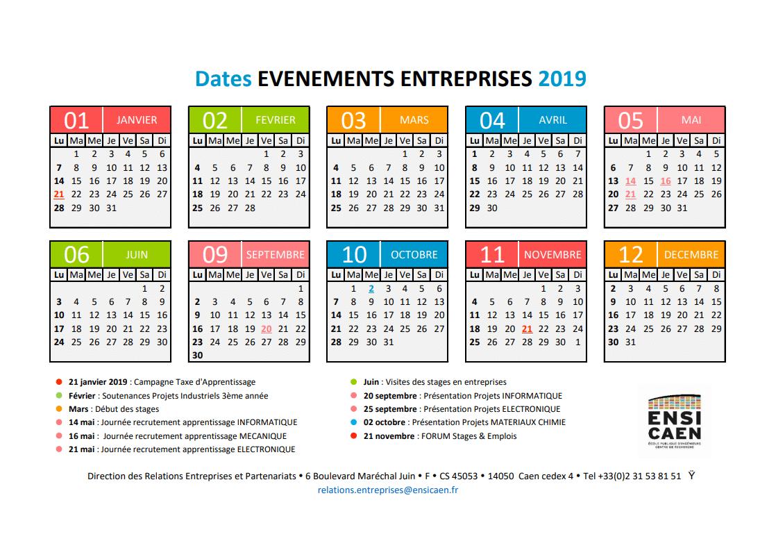 Calendrier évenements entreprises 2019