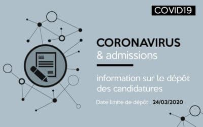 Coronavirus : information sur le dépôt des candidatures