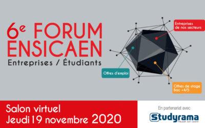 L'ENSICAEN organise la 6e édition de son Forum « Entreprises-Étudiants » au format virtuel