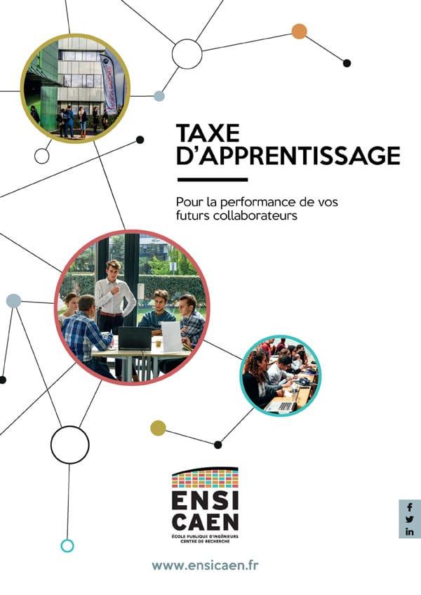 couverture plaquette taxe apprentisage ENSICAEN 2021